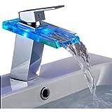 ralum® Grifo de Lavabo Grifo Moderno Cascada Baño LED RGB Cambio Color (tres colores) Cromo Plateada Latón y Cristal Diseño Elegante
