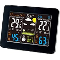 Atomic Wireless Weather Station with Indoor/Outdoor Wireless Sensor - TG645 Color Display Weather Station Alarm Clock With Temperature Alerts, Forecasting by Think Gizmos.
