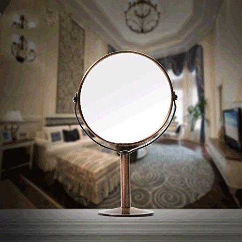 Miroir De Bureau En Bronze Grand Princesse Double-face Loupe Miroir Miroir Cosmétique Agrandissement Inversé Miroir Haute Définition Xuan - worth having (Couleur : Rond)