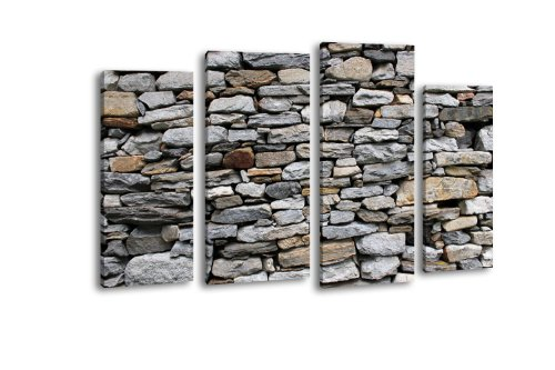 Price comparison product image LW73 Brick Wall Art Canvas Picture 4 Pieces 180 x 100 CM, XXL, with Stretcher Frame, Stone Boulder, rocks