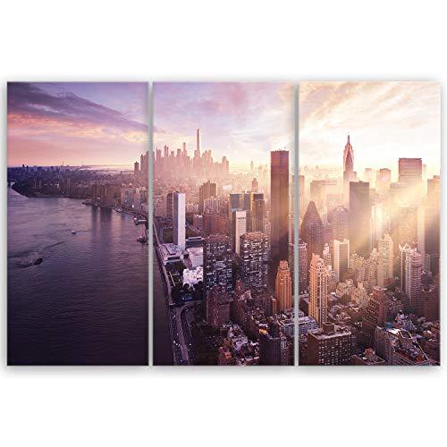 ge Bildet® hochwertiges Leinwandbild XXL - Sonnenuntergang über Manhattan - New York City - 120 x 80 cm mehrteilig (3 teilig) 2211 G