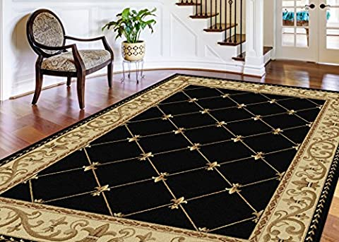 Universal Rugs border Traditional Rectangle Accent Area Rug, Black, 238 x 312 cm/8 x 11 ft