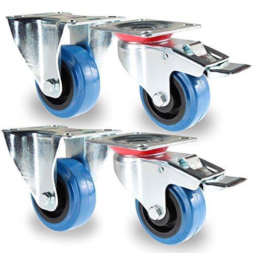 PRIOstahl TR-Set-17 Blue Wheels | 4 Stück | Transportrollen 80mm Lenkrolle mit Bremse / 2 X Bockrolle | Möbelrolle | für Werkbank | Apparaterollen