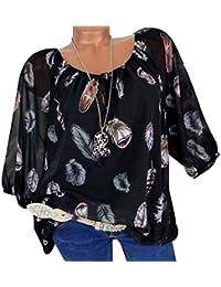 0291f983e9d8 WWricotta Damen Chiffon Blusen Freizeit V-Ausschnitt Locker Hemd Vintage  Blusenshirt Feder Druck Lose…