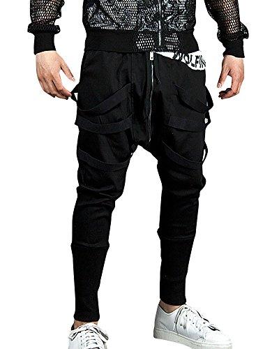Uomo pantaloni da jogging sportivi casual sarouel danza pantaloni nero l