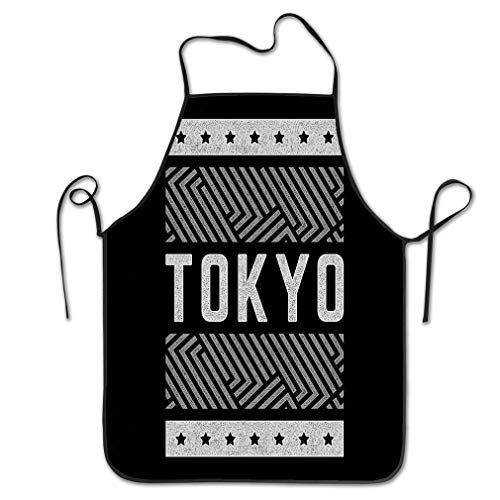 rwgfdgt Funny Personality Apron vintage vintage theme tokyo stylized retro gray typography banner flyer postcard Chef Kitchen Aprons 20.4 * 28.3 inch