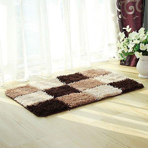 Pragoo - Alfombra a cuadros suave de pelo largo para dormitorio o salón, poliéster, café, 50*80cm