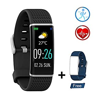 ZKCREATION Activity Tracker Fitness Tracker with Heart Rate Monitor IP67 Waterproof Pedometer Sleep Monitor Bluetooth Smart Bracelet Compatible with Android and IOS Smartphone(Color Screen,Black)