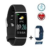 Smart Watch Fitness Tracker mit Herzfrequenz-Überwachung Schlafüberwachung IP67 Wasserdicht Bluetooth Armband USB Anschluss direkt laden für Kompatibel mit Android und IOS phone (Farbdisplay)
