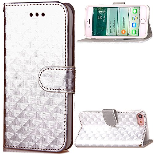 IPhone 7 Case Cover, Carré Lattice motif Flip Stand Case TPU couverture avec cordon et portefeuille et cadre photo pour Apple IPhone 7 ( Color : Silver , Size : IPhone 7 ) Silver