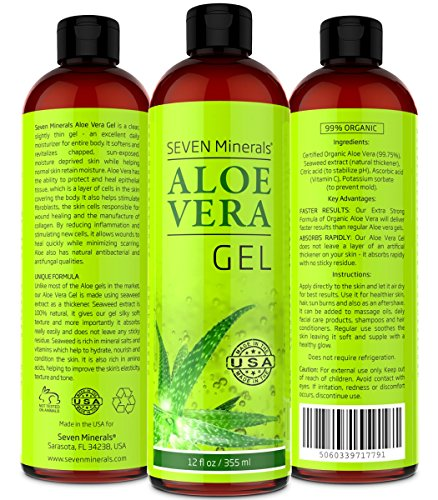 BEST Aloe Vera GEL - 99% Organic, 12oz - NO XANTHAN,