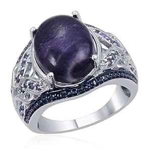 Utah Tiffany Stone, Sapphire, Diamond Ring In Platinum Plated Silver (Size P)