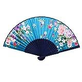 Sourcingmap - Azul marino verde azulado costillas de bambú patrón de peonía ventilador de la mano plegable