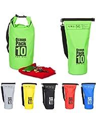 Relaxdays 10022783_53 Zaino Impermeabile Ocean Pack 10 L Borsa Stagna Dry Bag Sacca Ultraleggera per Kajak Vela Sci Verde