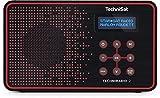 TechniSat TECHNIRADIO 2 / Digital-Radio mit Favoritenspeicher, mobiles DAB+ und UKW-Radio, Kopfhöreranschluss, Netz- oder Batteriebetrieb, perfektes Taschenradio für unterwegs, schwarz/rot