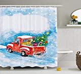 tgyew Christmas Shower Curtain Set, Vintage Red Truck in Snowy Winter Scene with Xmas Tree And Gifts Candy Cane Kids, Fabric Bathroom Decor with Hooks, 60W X 72L Inches Extra Long, Blue White Red
