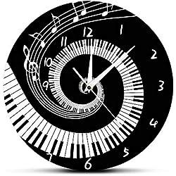 Pendules Murales Élégant Noir Et Blanc Touches De Piano Moderne Acrylique Notes De Musique Musique Clavier Vague Cadeau Rond Pour Amateur De Musique Pianiste Et Décoration Pour La Salle Familiale