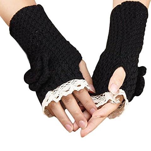 Saingace gloves Gestrickte Spitze-Rosen-Handschuhe (Schwarz)