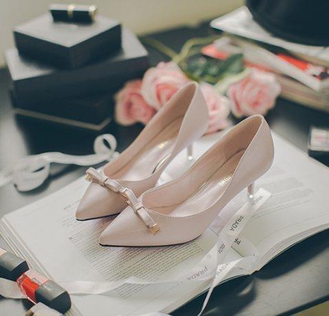 Chaussures printemps/Asakuchi a fait chaussures/Avec arcs dans la version coréenne des chaussures à talon B