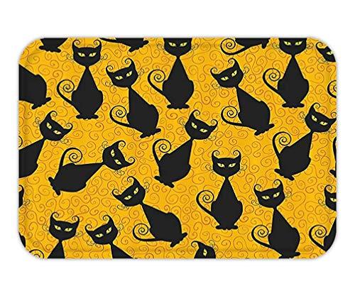 BagsPillow Doormat Vintage Decor Set Black Cat Pattern for Halloween On Orange Background Celebration Gift Graphic PatternBathroom Accessorie Long Black Orange.jpg (Für Loofahs Halloween)