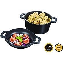 Rôtissoire Pyrex en fonte d'aluminium, 2 en 1 - Casserole noir de 24cm – Double casserole en fonte d'aluminium – Casserole de haute qualité