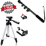 Starford Three-dimensional Head & Quick Release Plate With Locust Series Pocket Sized Compact Adjustable Selfie Stick Monopod With Aux, Adjustabble Ball Head & Built-in Scratch-Proof, Silicon-Padded Mount. Compatible All Smart Phone.(One Year Warr