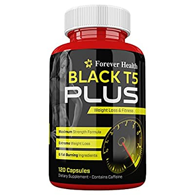 T5 Black PLUS - STRONG FAT BURNER Diet Pills - Burn Excess Body Fat FAST ! Specially Formulated to BOOST METABOLISM For Super FAST WEIGHT LOSS - 120 x High Strength Diet Pill - Lose Weight And Slim Fast With These SUPER STRONG Slimming Tablets ! Contains