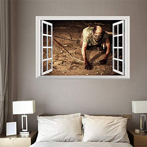 Rftvgb 3D Wall Sticker window Removable window PVC Halloween Decoration View Scary Bloody Broken Zombie Wall Haunted Home Decor Mural Party Art 72Cm X48.5Cm