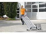 Günzburger Steigtechnik–Aluminium Mehrzweckleiter 3-teilig with 'roll-bar' Querträger 3x 14Sprossen Arbeitshöhe bis ca. 10,80m