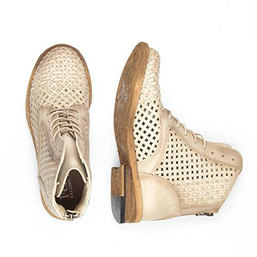 Felmini - Scarpe Donna - Innamorarsi com Gredo 9622 - Stivali Lacci - Pelle Genuina - Beige Beige