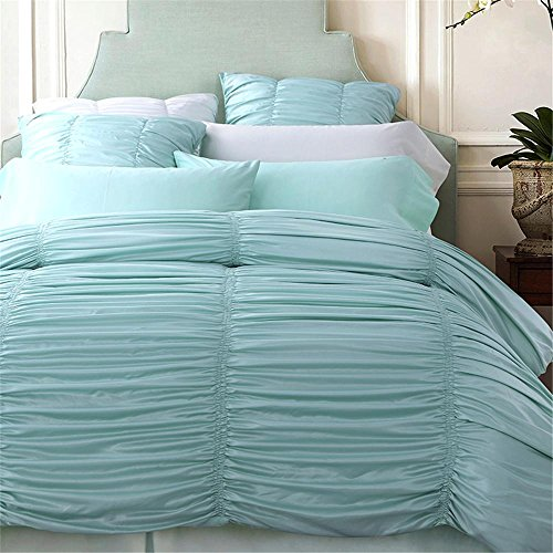 4-pezzi cotone imitato seta Luxury Bedding Set tinta unita pizzico piega lenzuolo Set letto matrimoniale lenzuola Duvet Cover Bed , Dizhiaolan