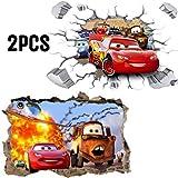 Kibi 2PCS Stickers Muraux Cars 3D Disney Wall Decal Enfants Chambre Bébé Décoration Autocollants Muraux Cars Disney stickers Muraux Personnalisé Stickers Mural 3d Stickers Muraux Fenêtre Amovible