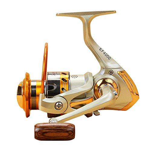 DRHYSFSA Angelrolle Angelrolle Licht Glatte Bass Gear Spinning Casting Left Right Salzwasser Süßwasser Angelrollen Angelzubehör (Farbe : Gold, Größe : 7000) -