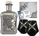 BOLT Gin Geschenk BLACK limitiert 1.250 Flaschen aus deutscher Edelmanufaktur Luxus Dry Gin in Silber 3D Tresor wilde Bergamotte und Kardamom Geschenkset mit 2 schwarzen Gläsern