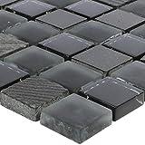 Mosaikfliesen Ankara Glas Stein Mix Schwarz 23 | Wand-Mosaik | Mosaik-Fliesen | Naturstein-Mosaik | Fliesen-Bordüre | Ideal für den Wohnbereich und fürs Badezimmer (auch als Muster erhältlich)