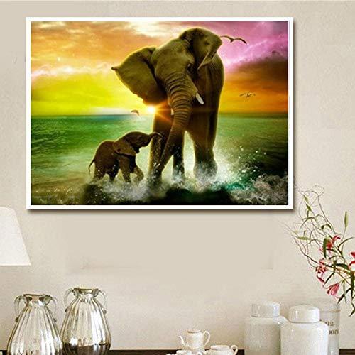 Y-XM DIY 5D Diamante Pintura El Elefante y el Bordado de Cristal...