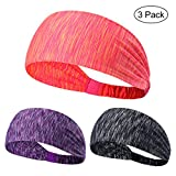3PCS Non Slip Unisex Stretch Elastic Sports Sweatbands Headbands Head Wrap for Yoga, Basketball, Running, Football, Tennis - Hair Accessories