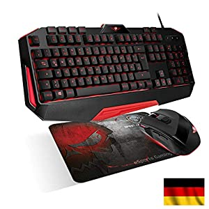 SPIRIT OF GAMER – 3in1 PRO-MK3 Gaming und Office Pack DE QWERTZ – Tastatur 26 Beleuchtete Anti-Gosting / Tasten 4 Makros / 7 Programmierbare Tasten 3200 DP / Mousepad – PS4 / XBOX ONE / PC