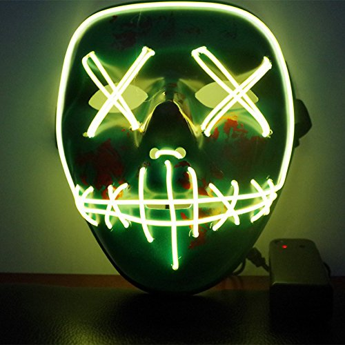 Rowentauk Halloween Scary LED-Maske, Halloween Cosplay LED Leuchten -