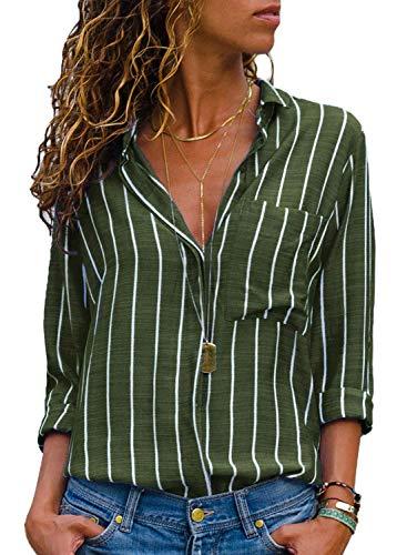 AitosuLa Bluse Gestreift Damen Hemd Oberteile V-Ausschnitt Lose Casual Chiffon Langarm T-Shirt Top Tunika Elegant Langarmshirt Streifen Grün Weiß XXL -