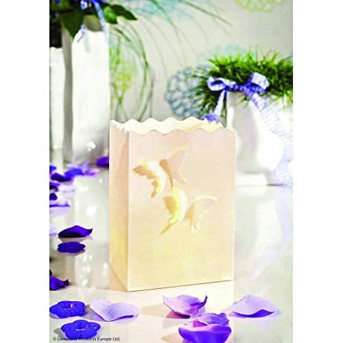 rtüte LUMINARIA Schmetterlinge klein  - 10er Set, Windlicht, Pappe/Papier/Zellstoff, 11 x 16 x 9 cm, Weiß ()