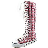 DailyShoes Women's Knee High Punk Sneaker Boots Punk-Hi Plaid, 11