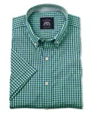 Savile Row Men's Blue Green Check Poplin Short Sleeve Casual Slim Fit Shirt Small