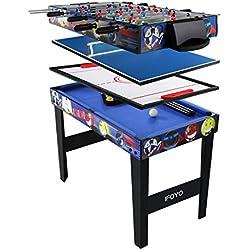 IFOYO Table de Jeux Multifonction 4 en 1 de 80 cm, Ping-Pong, Billard, Hocky, Baby-Foot, avec Accessoires, Bleu
