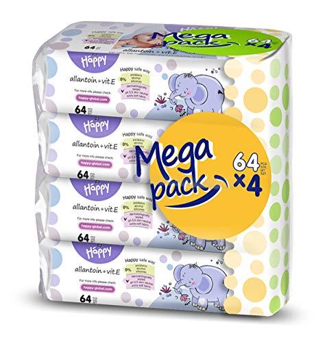 bella baby Happy Feuchttücher Allantoin & Vitamin E, 4er Pack (4 x 64 Stück)