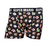 Nintendo Super Mario Bros. Men's Characters & Icons Boxer Shorts Underwear, Large, Black (ZB240354NTN-L), Negro, L para Hombre