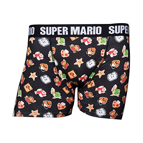Nintendo Herren Super Mario Bros. Men's Characters & Icons Boxer Shorts Underwear Boxershorts, Schwarz Black, Medium (Hersteller Größe:Medium)