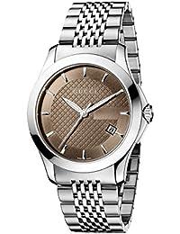 Gucci  YA126406 - Reloj de cuarzo para hombre, con correa de acero inoxidable, color plateado