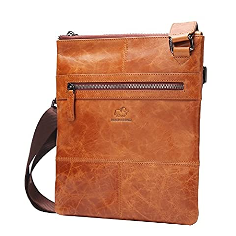 BISON DENIM Leather Briefcase Messenger Shoulder Cross-body Business Bag For Men (Brown/W2442-1V) (Brown Leather Messenger Bag)