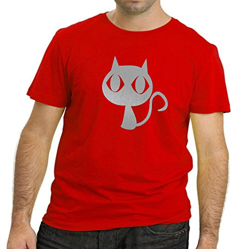 HEYUZE Designer Printed Premium Quality 100% Cotton Half Sleeve Male/Men Round Neck Red T Shirt with Cat Love Design